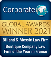 Global Awards 2021 for the law firm boutique Billand & Messié