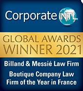 Awards INTL 2021 pour le cabint d'avocats d'affaires Billand & Messié